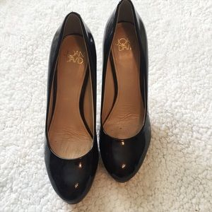Joan & David black patent heels